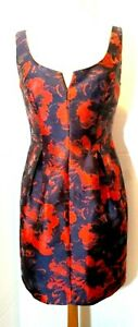 Trina-Turk-Floral-Dress-Sleeveless-Split-Neck-Sz-6-Fitted-sheath-Red-Black
