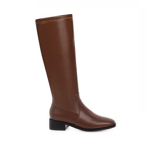 Details about  /Classic Women/'s Casual Office Work Zipper Low Heel Square Toe Knee High Boots L