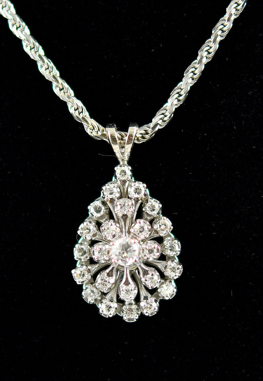 ITALY Aurafin 14K White gold .46CT 25 RBC Diamond Starburst Pendant & Rope Chain