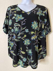 Est-1946-Womens-Size-22-24W-Black-Floral-Blouse-Short-Sleeve