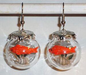 ohrringe fisch tiere goldfisch damen ohrschmuck modeschmuck glas orange ebay. Black Bedroom Furniture Sets. Home Design Ideas