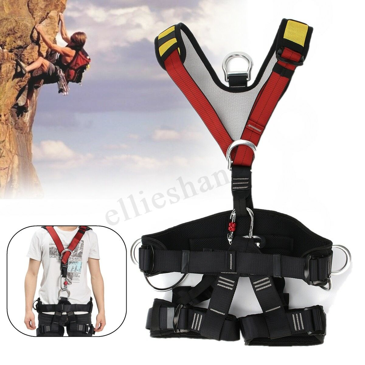 Full Body Rescue Climbing Belt Fall Arrest Predection Safety  Rappelling Harness  free delivery