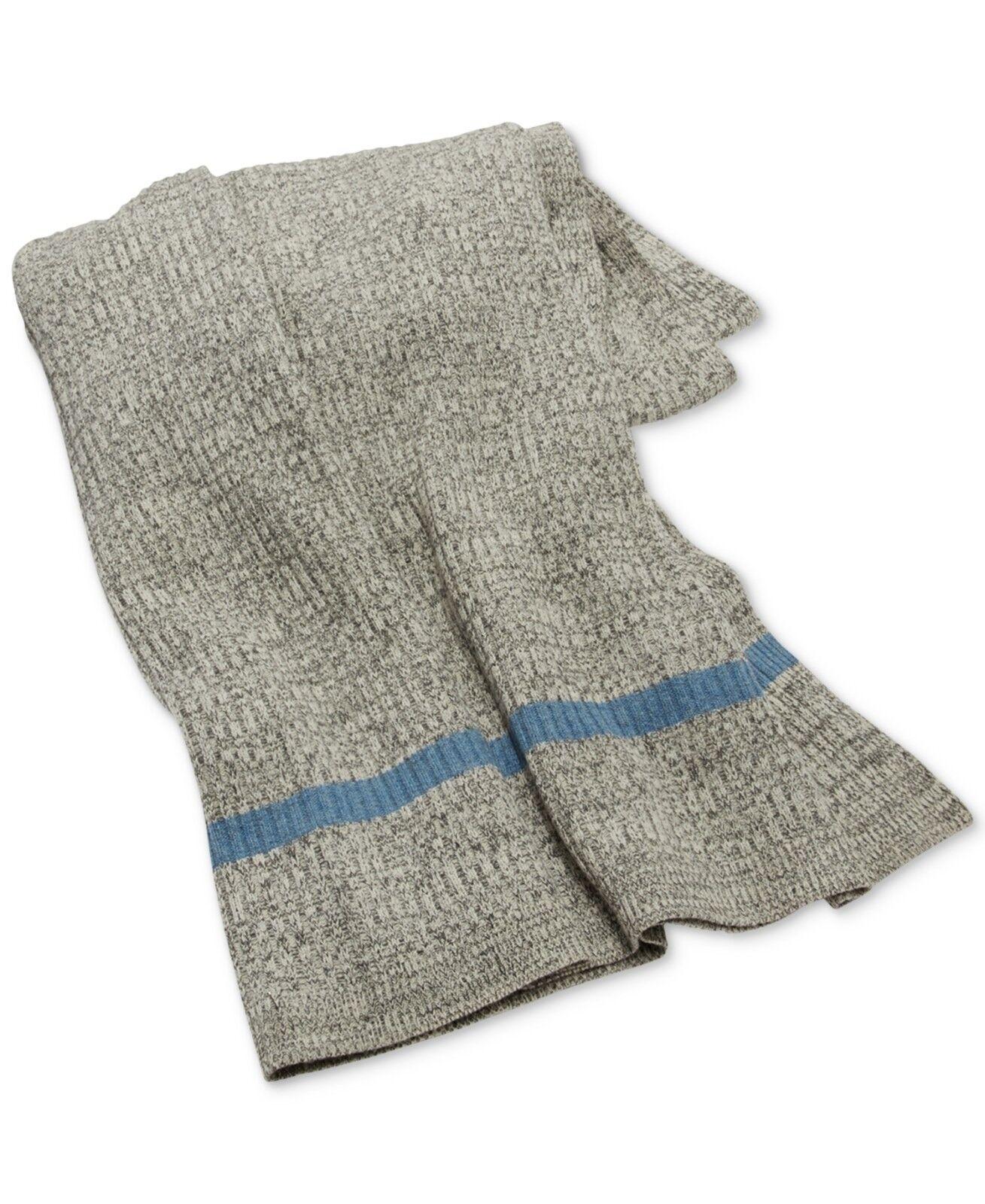 Ralph Lauren Gravesend Lambwools Blend Throw Blanket Grey Light bluee  330 H5054