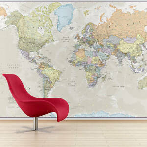 Giant classic world map mural ebay image is loading giant classic world map mural gumiabroncs Image collections