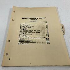 Genuine John Deere Model E Et Spreaders Parts Catalog Pc C63 Dealer 1948