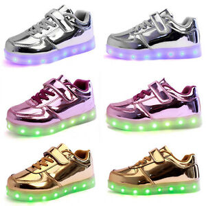 Details About Usb Boys Girls Led Light Up Luminous Sportswear Sneakers Kids Casual Shoes