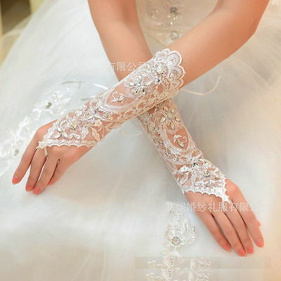 Crystal lace Bridal glove Wedding from Party Costume Long Gloves Fingerless AU