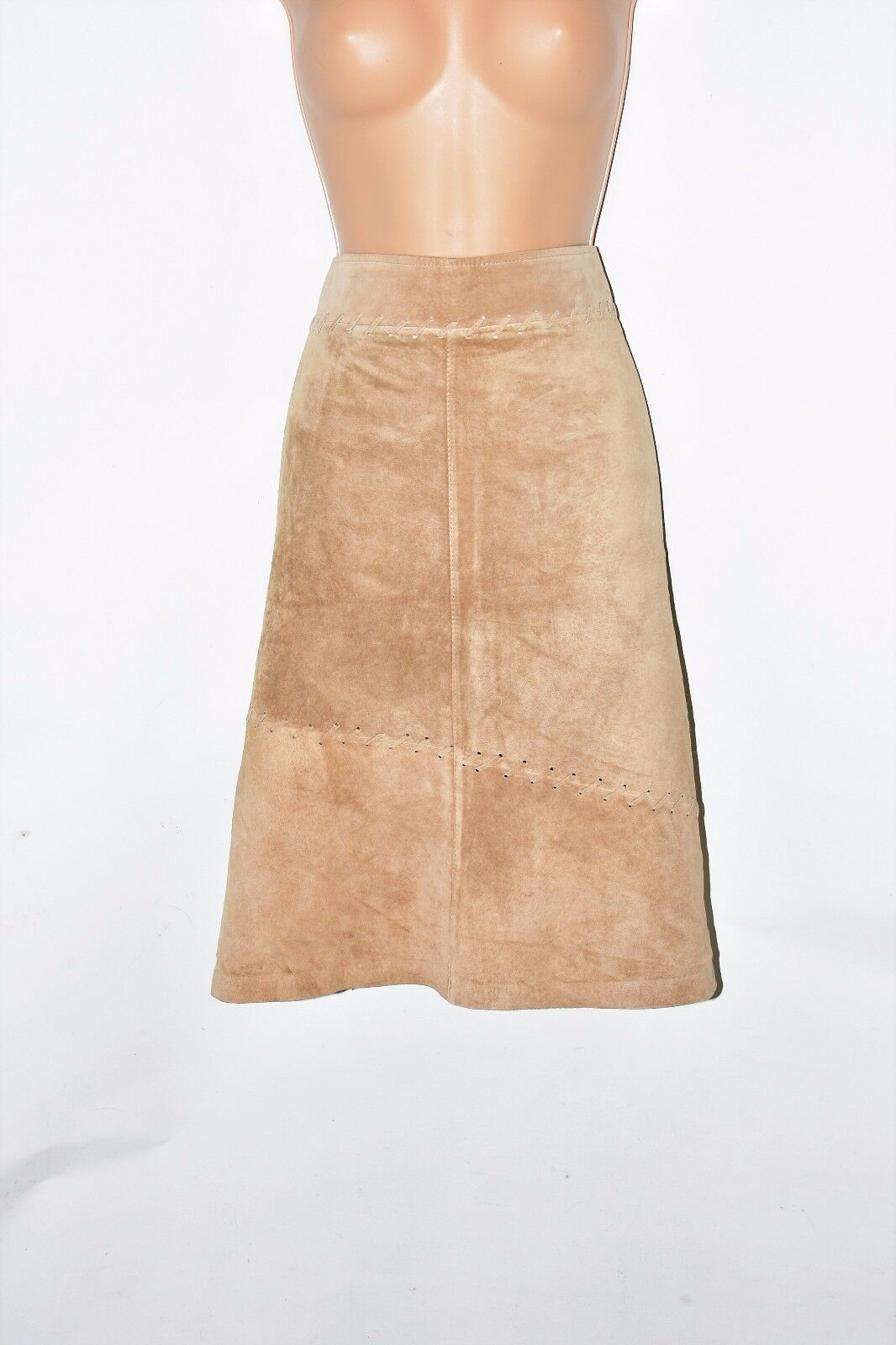 Brown Real Leather H&M Straight Pencil Knee Length Skirt Size XXL L24