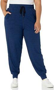 Essentials Women's Plus Size Brushed Tech Stretch Jogger, Blue, Size 1.0