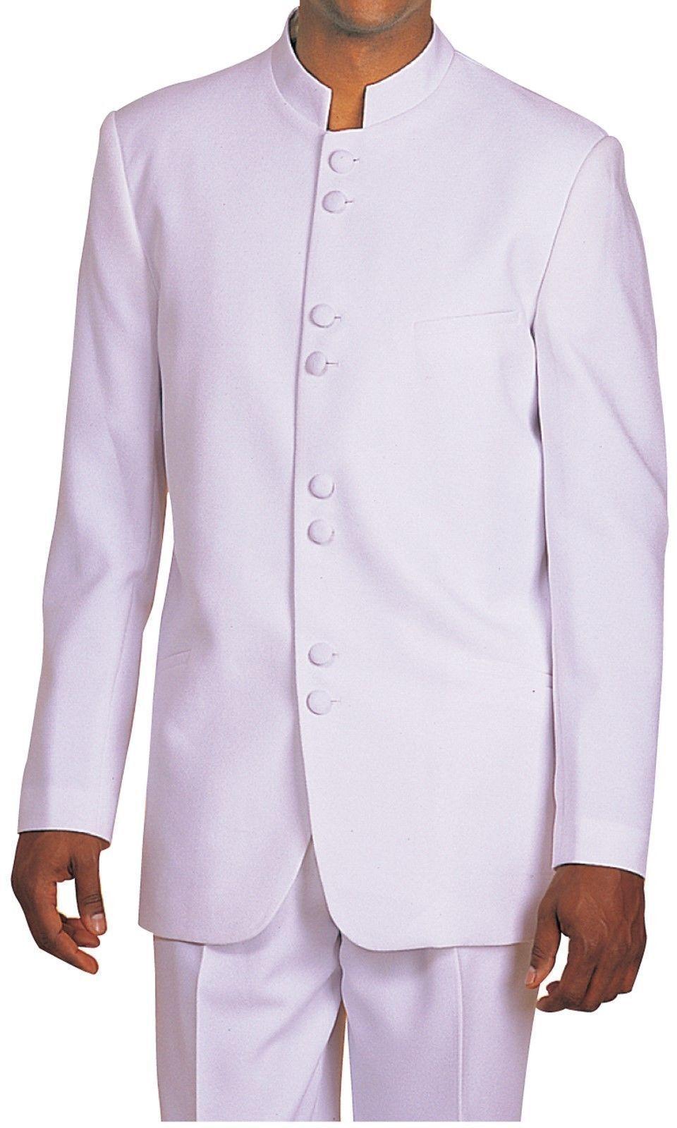 Mens Chinese Suit Banded collar Burgundy Nehru Style Collarless Church 782GA