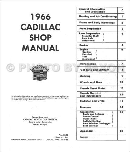 1966 Cadillac ORIGINAL Shop Manual Edlorado Deville Calais Fleetwood OEM Service