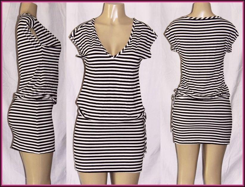 Trina Turk  ( 00 (M) 10 )  Striped 274634 Short Casual Dress String Waist Pull