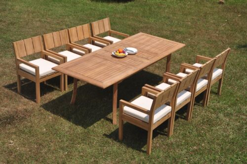 """DSVR A-Grade Teak 9pc Dining Set 94"""" Rectangle Table 8 Arm Chair Outdoor 9780924922084"""