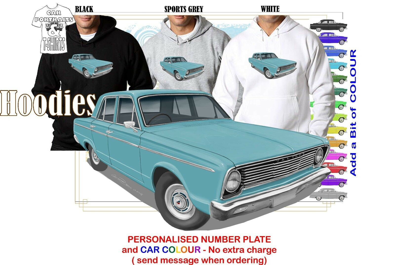 66-67 VC VALIANT SEDAN HOODIE ILLUSTRATED CLASSIC RETRO MUSCLE CAR
