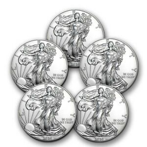 2020-1-oz-American-Silver-Eagle-BU-Lot-of-5-Coins-1-US-Mint-Silver