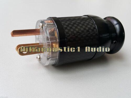1x Copper Color Berylium US Male AC Power Plug Carbon Fiber Connector