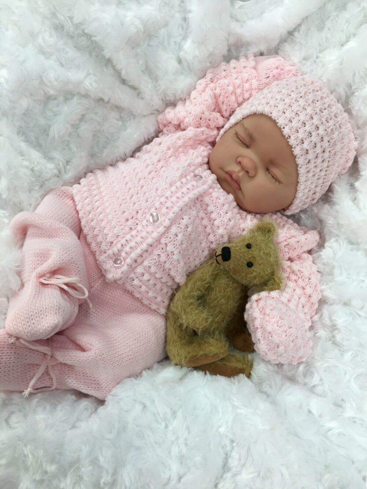 REBORN GIRL DOLL PINK KNITTED SPANISH OUTFIT WITH DUMMY M