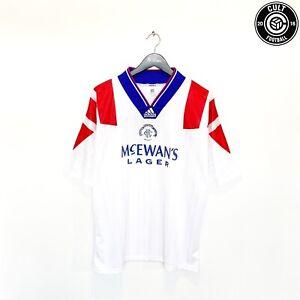 1992/94 RANGERS Vintage adidas Away Football Shirt Jersey (L) 42/44 McCoist Era