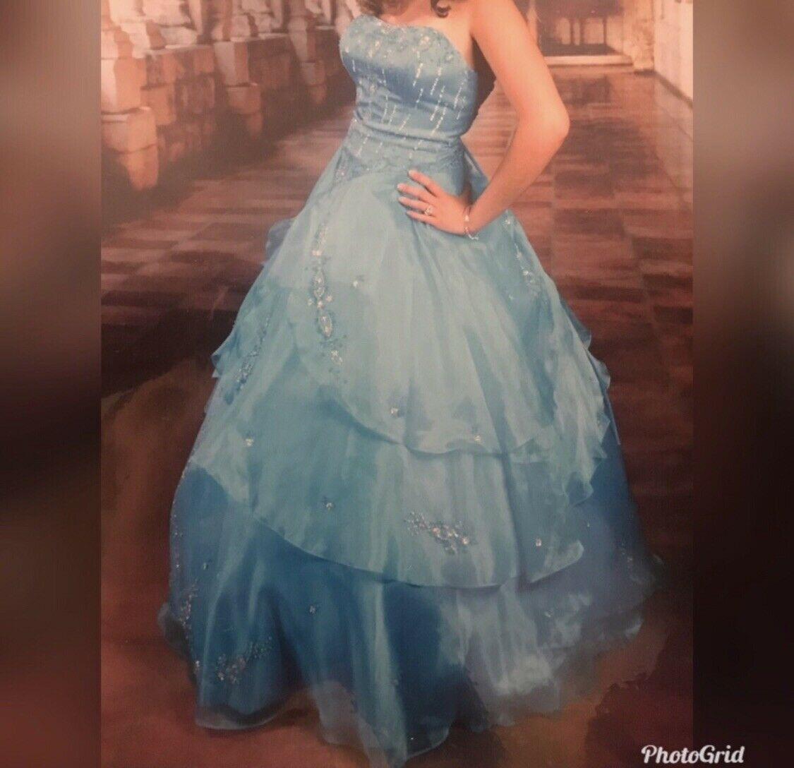 blue ball gown dress - image 5