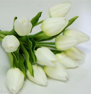 Wedding bouquet artificial flower latex real touch white tulip bunch image is loading wedding bouquet artificial flower latex real touch white mightylinksfo