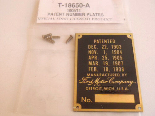 Ford Model T Brass Patent Number VIN ID Plate 1909-1911 Stamped