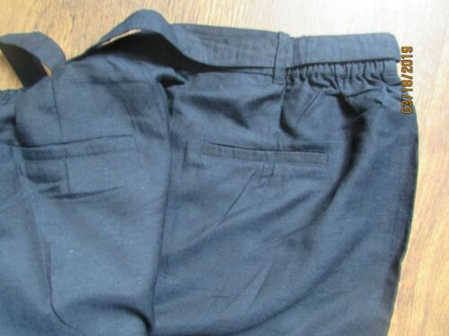 NWT NAVY LINEN BLEND BELTED TROUSERS SIZE 12 14 16 18 20 30 32 AVAILABLE