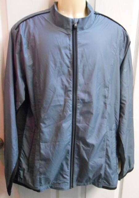1484f02d94ee10 NWT Adidas Golf Climaproof Stretch Wind Jacket Men s Large Gray Lead Black  DEAL!