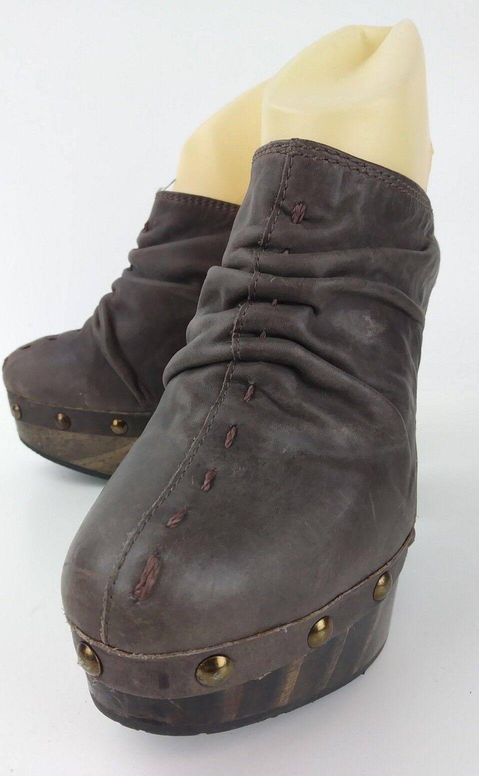 Romano Wos Shoes EU36  6 Brown Pelle Studded Platform Heels Mules 1218