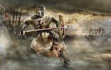 Grande STAMPA INCORNICIATA-KNIGHT TEMPLAR tra una battaglia epica (PICTURE POSTER guerra)