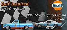 ACME 1:18  GULF 1968 CHEVROLET C10 PICKUP GMP GULF TRAILER &  CAMARO-IN STOCK !!