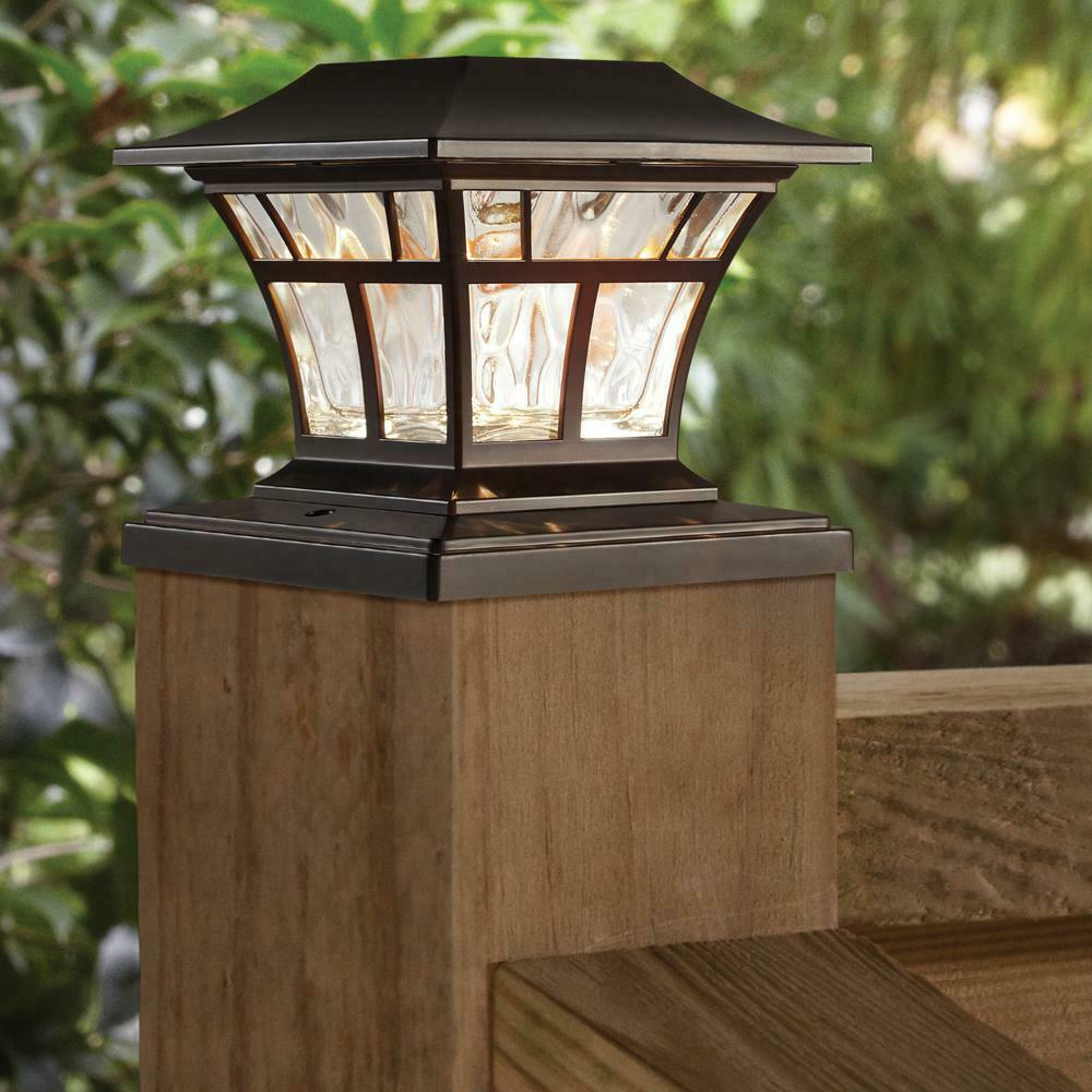 Exquisite Selebrity Solar Square Outdoor Black 4X4 5X5 6X6 5 LED Fence Post Cap Light/ 4X4 INCHES