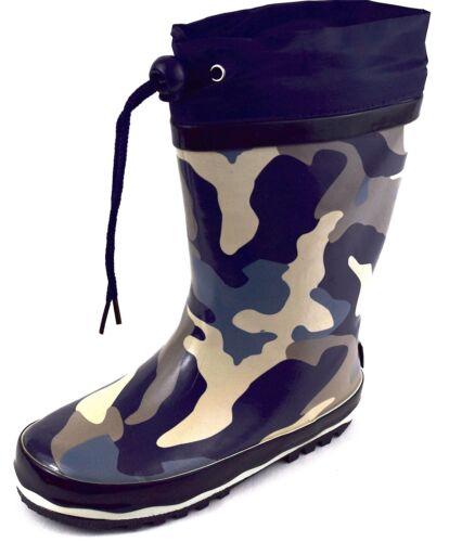 Bottes de pluie Bottes Camouflage Bleu Taille 24-31 pas PVC Enfants Bottes en caoutchouc
