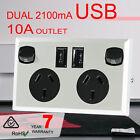 10a Double Australian USB Power Point Supply 2 Socket Switch Wall Plug Black