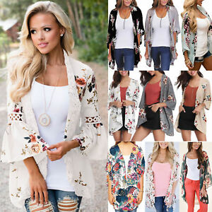 Womens-Holiday-Floral-Kimono-Cardigan-Summer-Casual-Jacket-Tops-Boho-Blouse-Coat