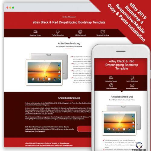 Bootstrap 4-2019 Template BLACK /& RED Auktion Theme//Vorlage//Design