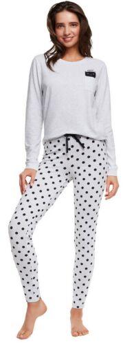 Damen-Schlafanzug langarm mit süßem Katzen-Print Gr S-L Pyjama lang Nachtwäsche