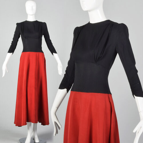 XS 1940s Color Block Evening Dress Red Maxi Skirt