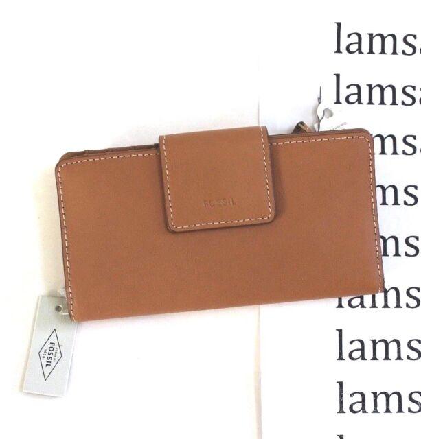 f5bdf35d43ff Fossil Tan Leather Emma RFID Tab Clutch Wallet Sl7154231