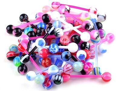 10PCS Mixed Ball Tongue Navel Nipple Barbell Rings Bars Body Jewelry Piercing