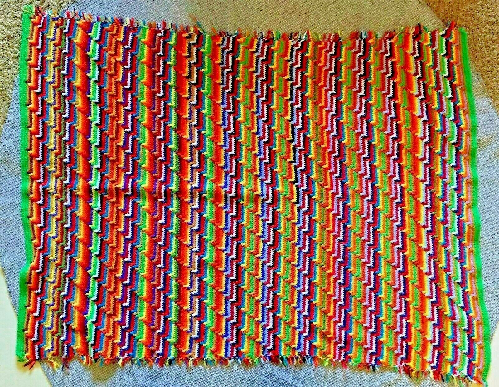 VTG Handmade Multi color Rainbow Crochet Grandma Blanket Throw Fringe Southwest