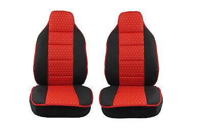 2x Sitzauflage Sitzkissen Sitzmatten Rückenkissen Rot Kunstleder+Schwarz Stoff