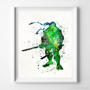 Leonardo Teenage Mutant Ninja Turtle Type 2 Watercolor Poster Print UNFRAMED