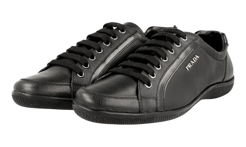 LUSSO PRADA Sneaker NEW Scarpe con SAFFIANO 3e5620 NERO NUOVO NEW Sneaker 40 40,5 a003e9