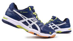 Asics Gel-Rocket 7 Hommes Badminton Chaussures de Squash Indoor Sport Marine Neuf Avec Étiquettes B405N-5001