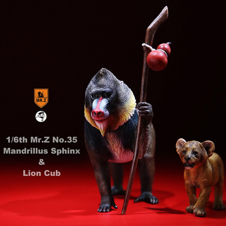 1 6 juego de León CUB Ratio papión Esfinge Animal Figura Modelo Juguete Regalo de Colector