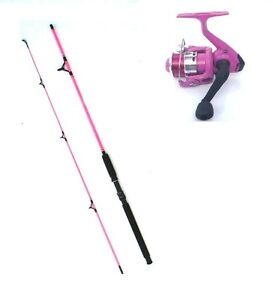 pink 7ft fishing rod and reel outfit ideal for spinning or general, Fishing Reels