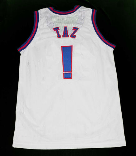TAZ TUNE SQUAD SPACE JAM MOVIE BASKETBALL JERSEY WHITE QUALITY NEW SEWN ANY SIZE