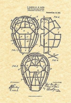 Official Baseball Catcher Mask US Patent Art Print Vintage 18 1888 Umpire