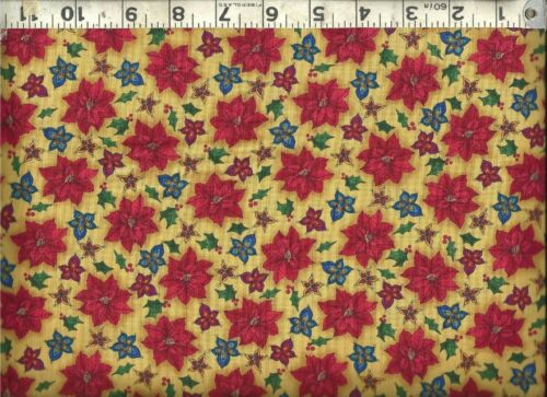 Quilting Treasures Christmas Poinsettias on Gold 100/% Cotton Quilt Fabric BTY