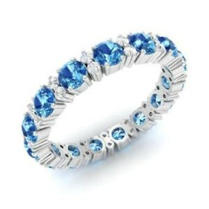 1.95 Ct Round Diamond Engagement Topaz 925 Sterling Silver Eternity Band Size 7